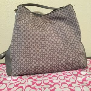 Beautiful Coach Phoebe Gray Needlepoint Handbag